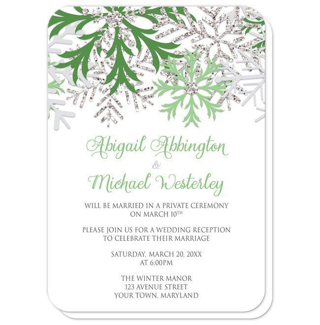 Winter wedding reception only invitations and RSVP reply cards designed with green, light gray, and silver glitter-illustrated snowflakes over white.