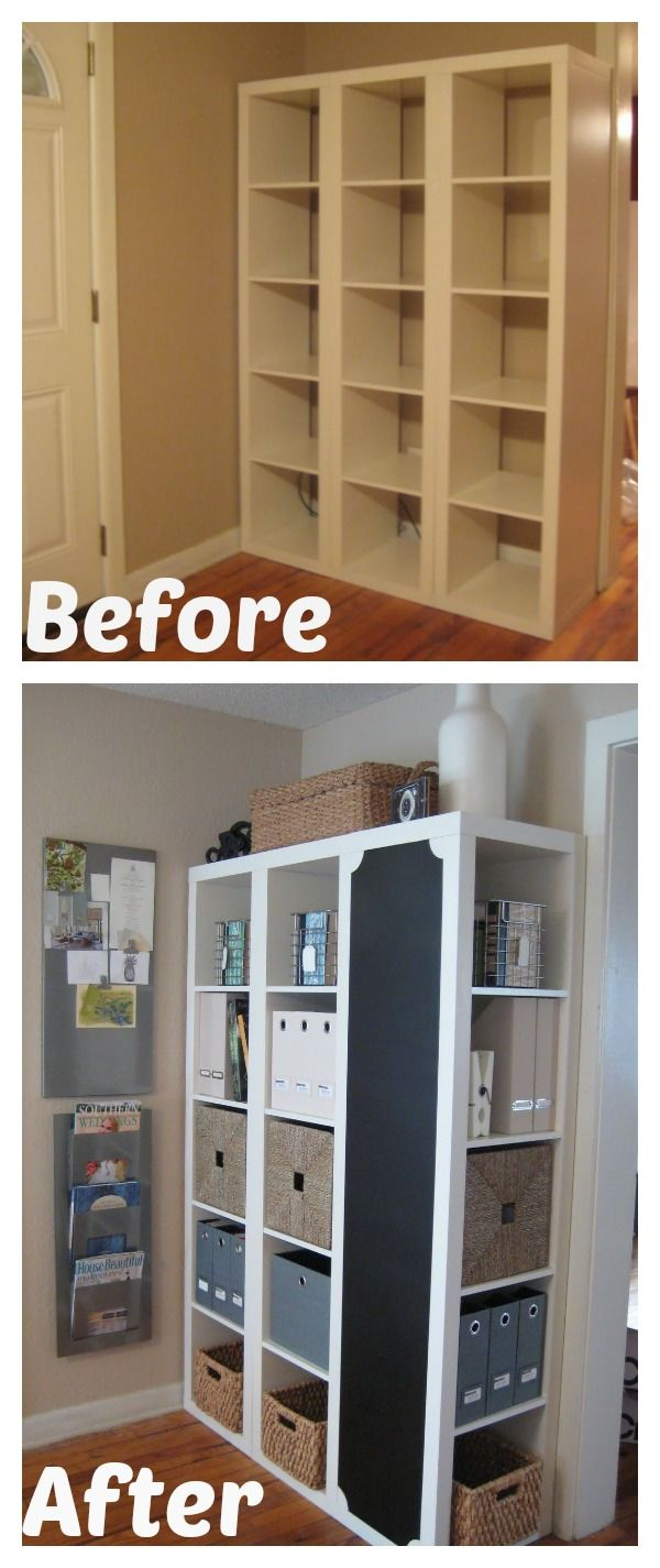 DIY Command Center with storage and Chalkboard -- IKEA Hack