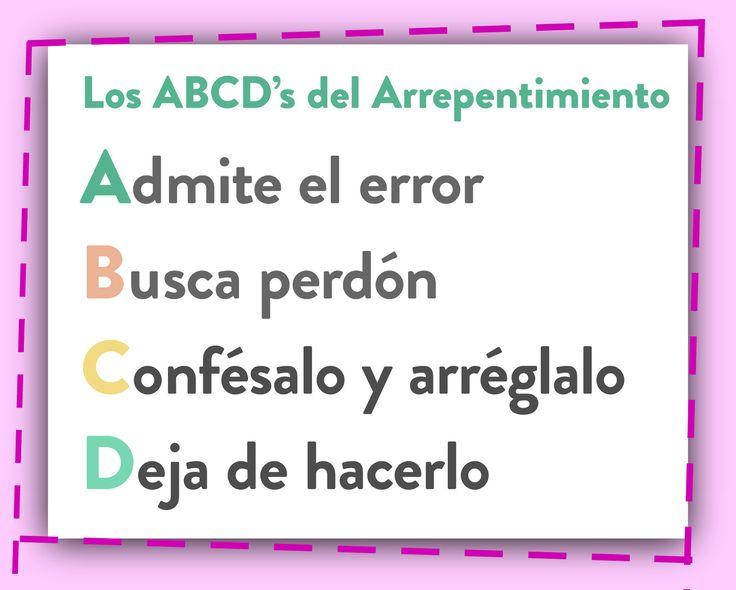 Actividades Primaria SUD: El A, B, C, D del arrepentimiento.