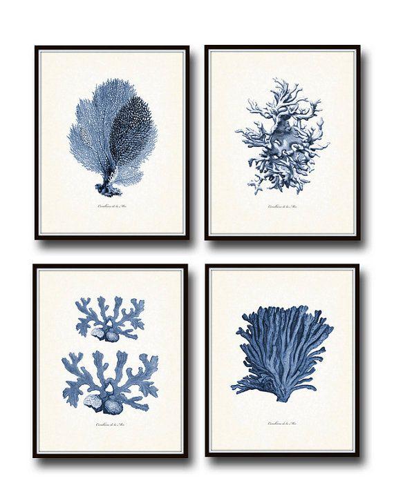 Vintage indigo blue sea coral print set no 2 giclee art print beach house art coastal art prints and posters coral print illustration