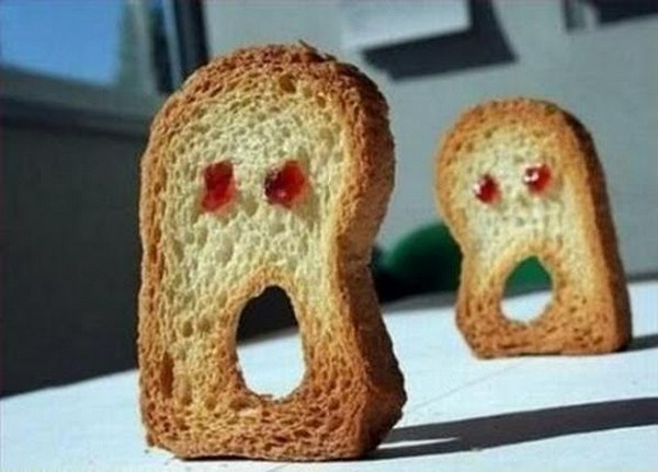 """Add some peanut butter to this """"scary (whole wheat) toast"""" for a high protein breakfast that is sure to keep you feeling satisfied until lunch."""
