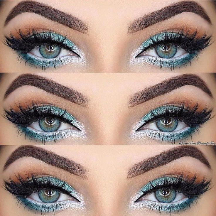 картинки бирюзовый макияж глаз