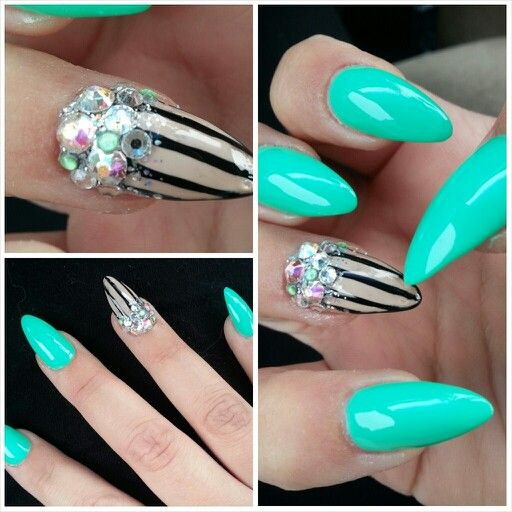 mint with striped junk nail. nail art and fill done by lisa phom at virasone nails in akron, oh.