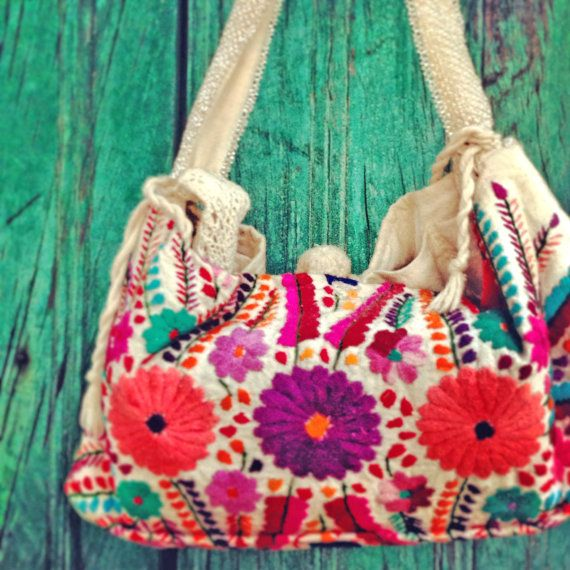 Mexican Floral Handbag Clutch  Hand Embroidered Bag Boho Chic Gypsy Purse