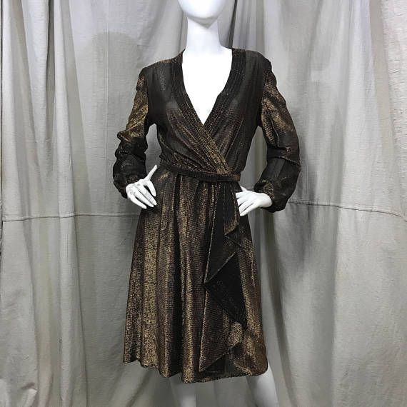 años 70 vestido discoteca oro / / abrigo imitación negro vestido de Metal líquido / / pura metálica Vestido de manga larga
