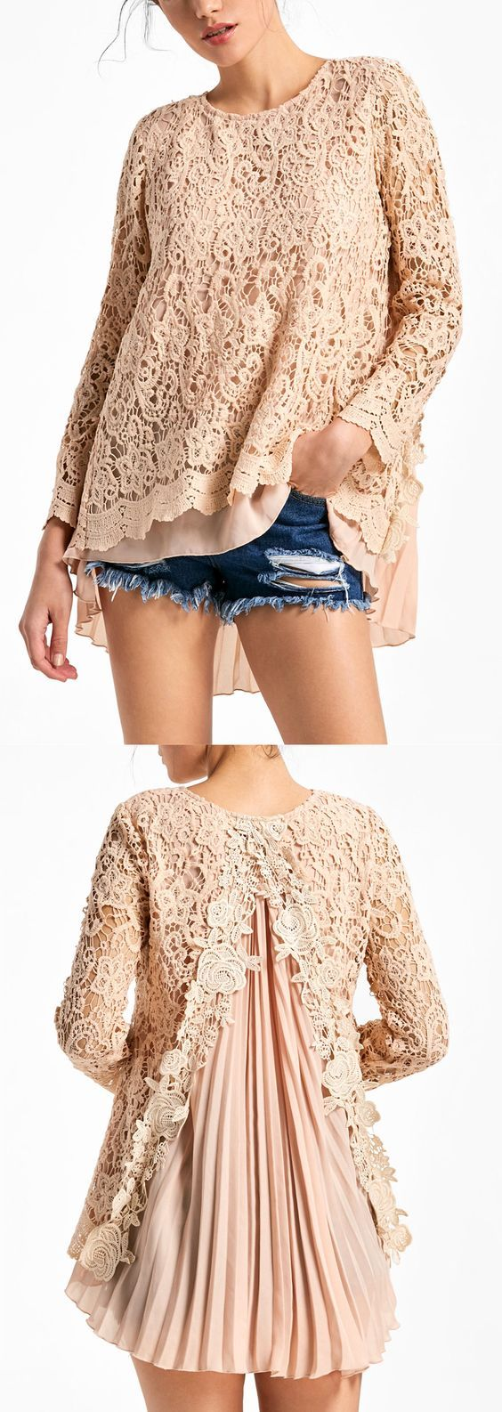Long Sleeve Pleated High Low Lace Blouse