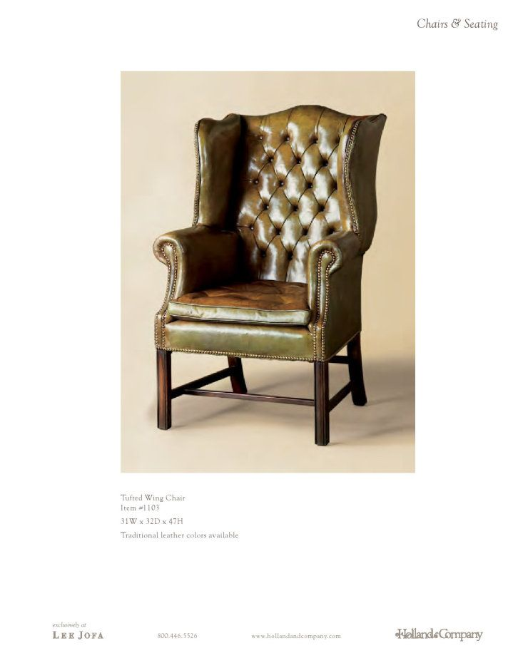 Holland U0026 Company, Tufted Wing Chair