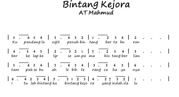 Image Result For Not Pianika Not Musik Bintang