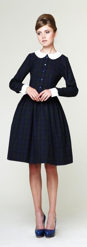 Mrs Pomeranz | Navy Blue Tartan Dress