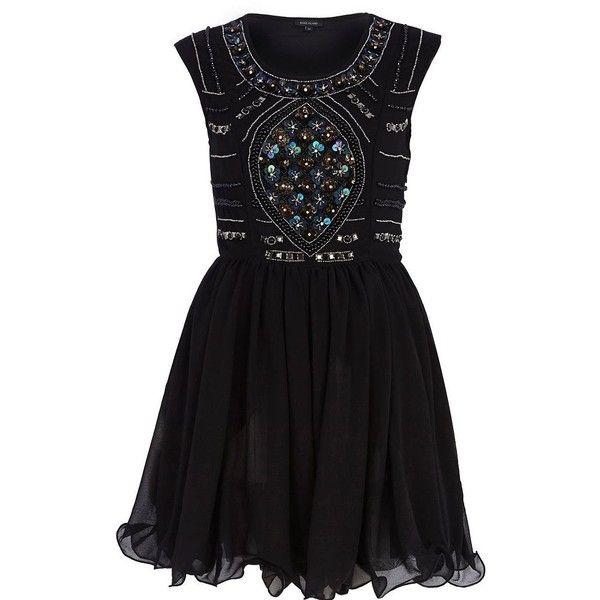 River Island Black sequin embellished prom dress ($88) found on Polyvore