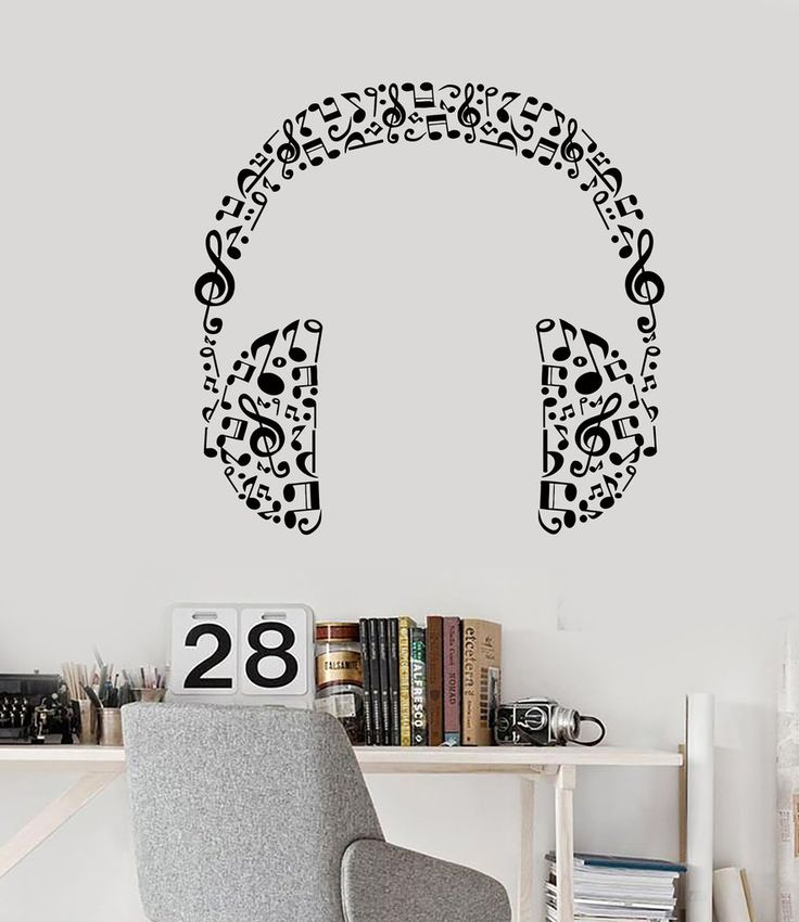 Vinyl Wall Decal Headphones Music Musical Room Art Stickers (426ig) – Wallstickers4you