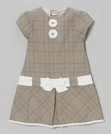Take a look at this Gray Plaid Bow Cap-Sleeve Dress - Infant & Toddler by P'tite Môm on #zulily today!