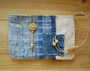 Natural indigo hemp textile pouch