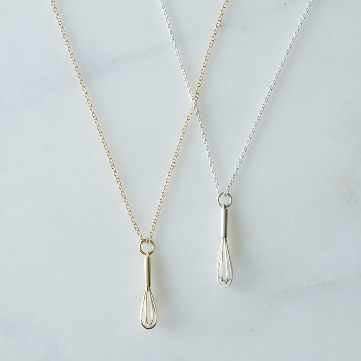 Love to bake? Know someone who does? Wear your passion proudly with this tiny whisk necklace!