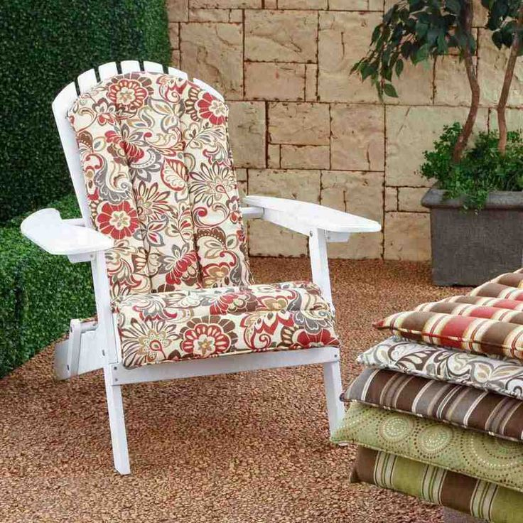 Wonderful Patio Chair Cushion Slipcovers From Floral Pattern Cotton Fabric  On Vintage Wooden Recliners Above Diy Backyard Flooring From Sliced Pebble  Tile ...