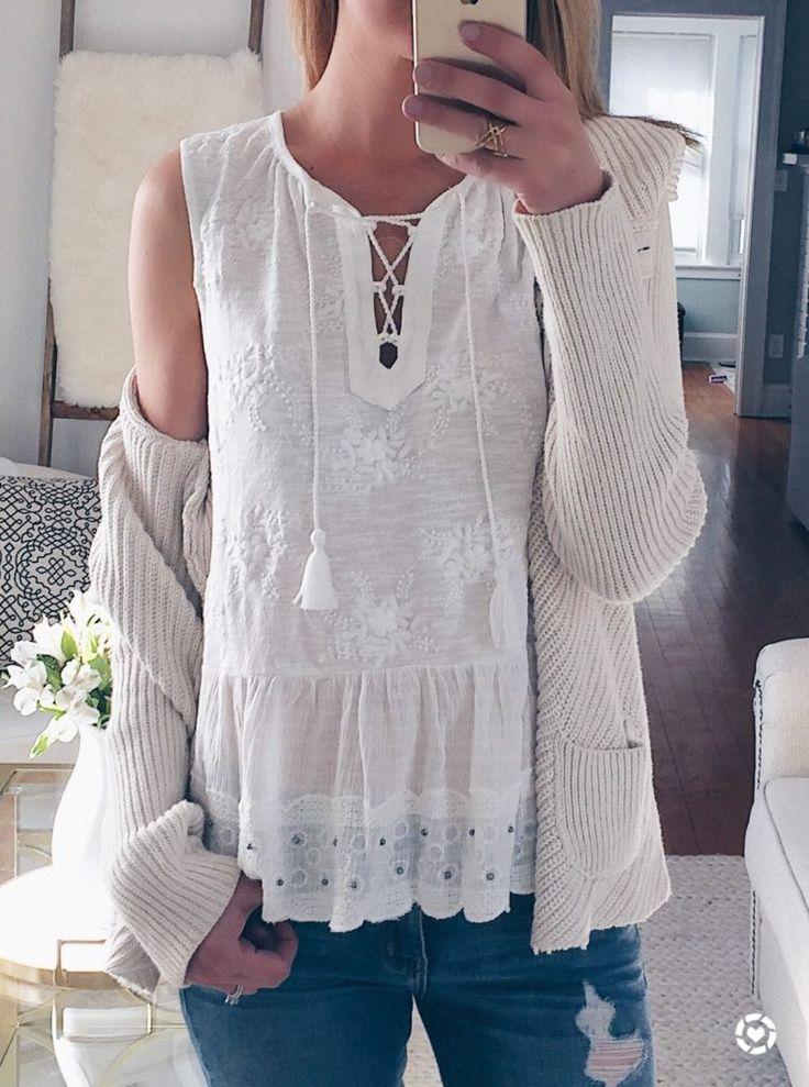 spring outfit idea: white peplum tank