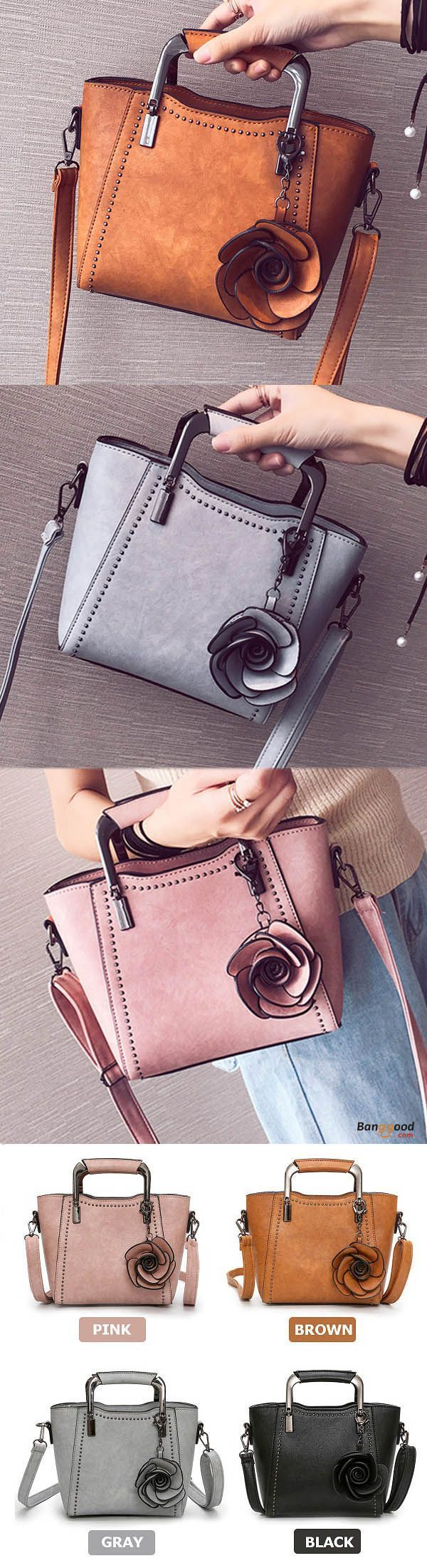 Women PU Leather Retro Rose Tote Bag Handbag Shoulder Bag Crossbody Bag. Designed, fashionable, elegant, for office, shopping, casual, party, travel, womens bags, shoulder bags, handbags, crossbody bags. Small size, large capacity. Get the look! #womenhandbags