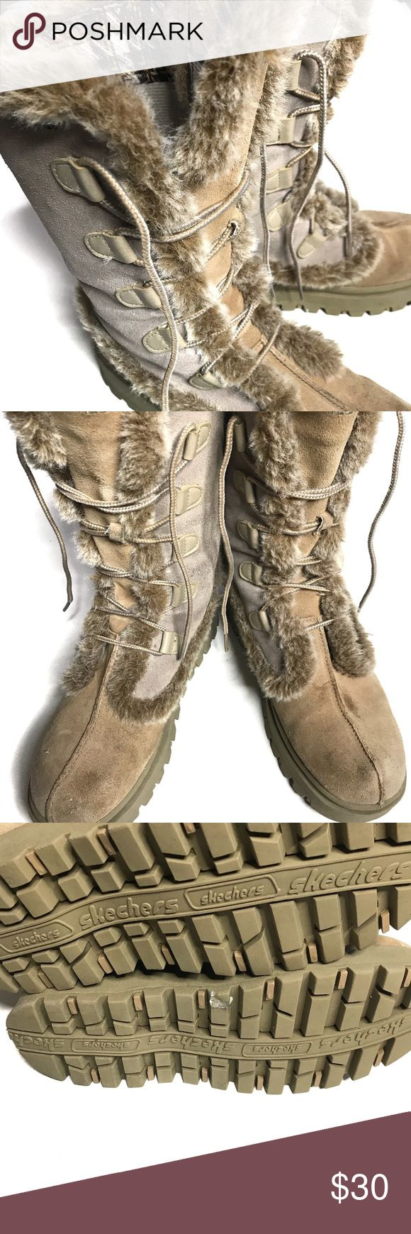 Women's Skechers Winter Boots Leather and fur women's Skechers winter boots. Barely worn. I ship fast! Skechers Shoes Winter & Rain Boots