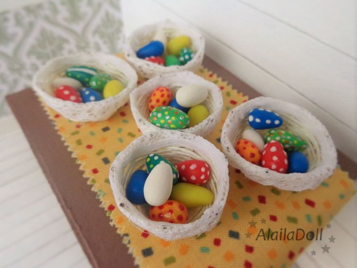 Handmade Miniature Easter basket with Easter eggs