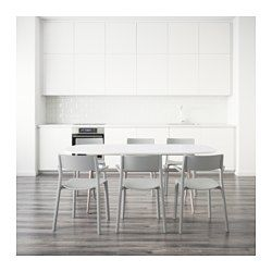 OPPEBY/OPPMANNA / JANINGE Table and 6 chairs, high gloss white, gray - IKEA