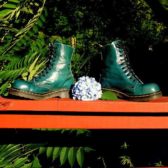 Green Steel Toe Dr Martens Boots Patent Leather by RenegadeRevival, $139.99