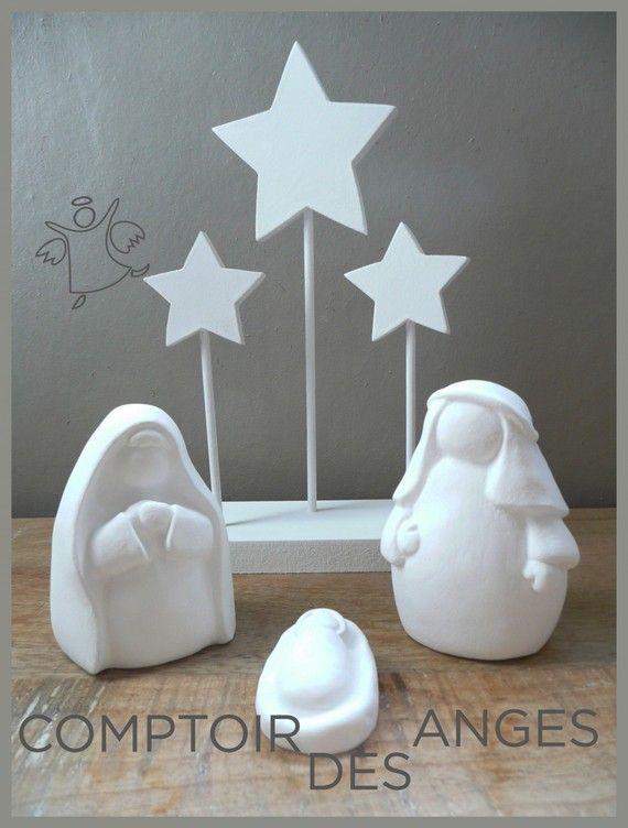 Crèche de Noël en plâtre toute blanche