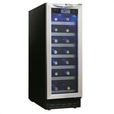 9Silhouette 27 Bottle Built-In Wine Cooler in Black with Stainless Steel Door Trim by Danby. $740.47. 3900128 Features: -Holds 27 bottles.-All black interior emulates the traditional wine cellar.-Precise digital thermostat with LED display allows the temperature to be accurately set and monitored through the door.-The frost free, fan forced cooking system combined with the digital thermostat provides a consistent internal temperature.-Sturdy stainless steel trimmed wire she...