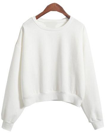 Round Neck Crop Loose White Sweatshirt