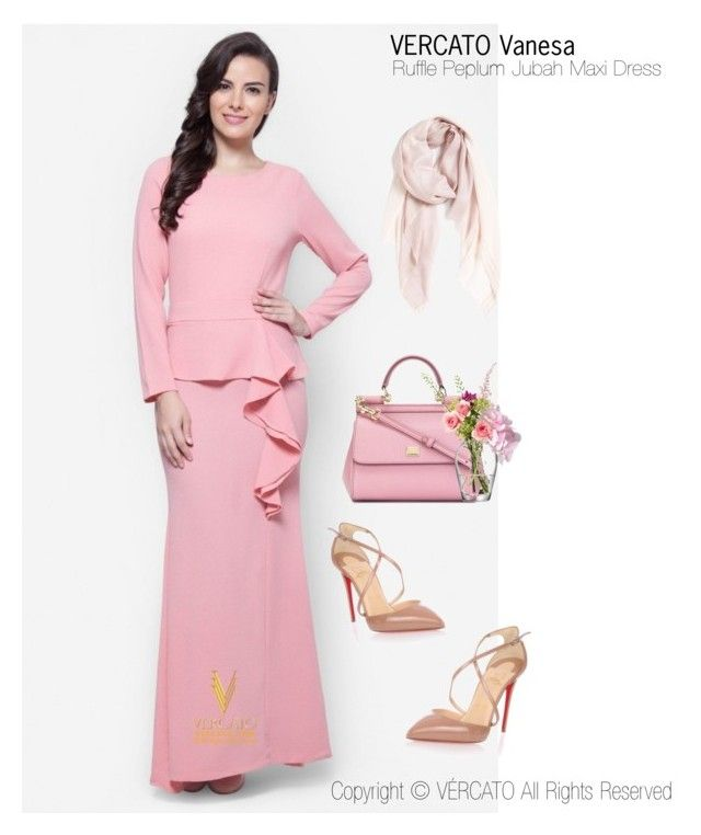 """Baju Kurung Moden Terkini 2016"" by vercato on Polyvore featuring Ruffle Peplum Jubah Maxi Dress - Vercato Vanesa in Pink. SHOP NOW: www.vercato.com"