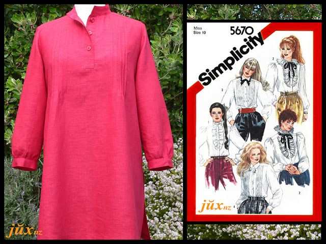 Red linen/rayon and Simplicity 5670 (1982) lengthened to make tunic