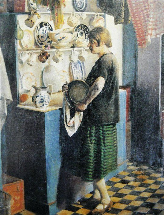 Gertrude in the Kitchen at Maen Cottage,1927,Harold Harvey:
