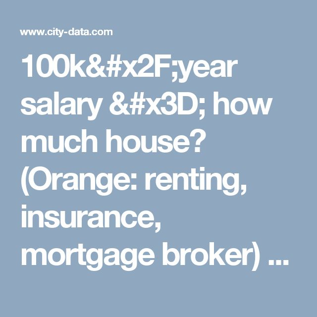 100k/year salary = how much house? (Orange: renting, insurance, mortgage broker) - New Jersey (NJ) -  City-Data Forum