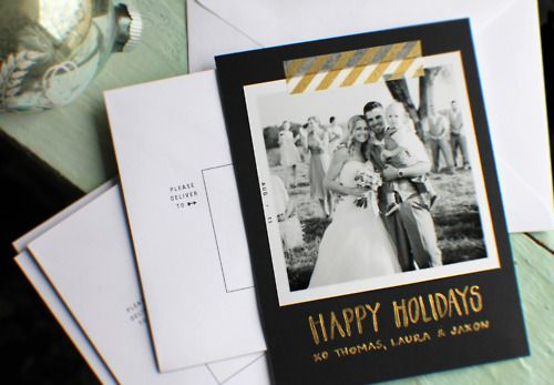 cute way to make holiday cards with a photo, some colorful tape, and card