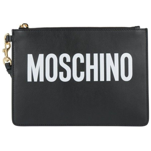 Moschino Evening Bag - Logo Clutch Leather Black - in black - Evening... (890 BRL) ❤ liked on Polyvore featuring bags, handbags, clutches, black, leather man bags, leather evening bags, moschino purse, real leather purses and hand bags