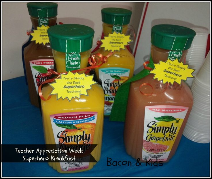 "teacher appreciation week simply juice superhero breakfast ""you're simply the best superhero teachers"""