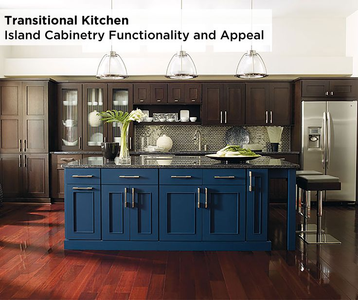 With end of island seating, an expansive countertop, drawers and base cabinet functionality, this kitchen island featuring Omega's Metro maple cabinets in Blue Lagoon is a necessity for any transitional kitchen and lifestyle. Find ease with entertaining.