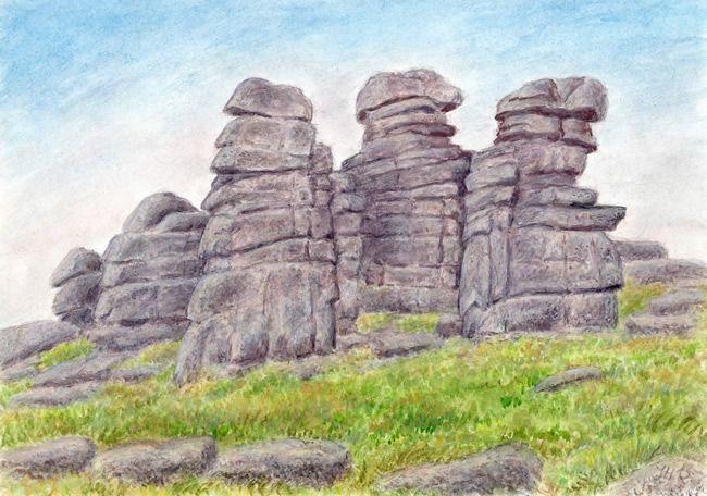 Granit - Dívčí kameny, Krkonoše . Čechy / Czech, akvarel Jana Haasová