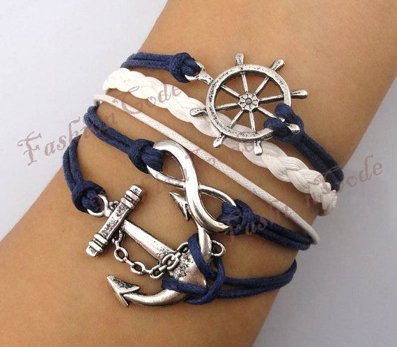 Rudder / Ship Wheel, Infinity and Anchor Bracelet in Antique Silver - Navy Blue Wax Cords and White Leather Braid Bracelet--Best Chosen Gift via Etsy