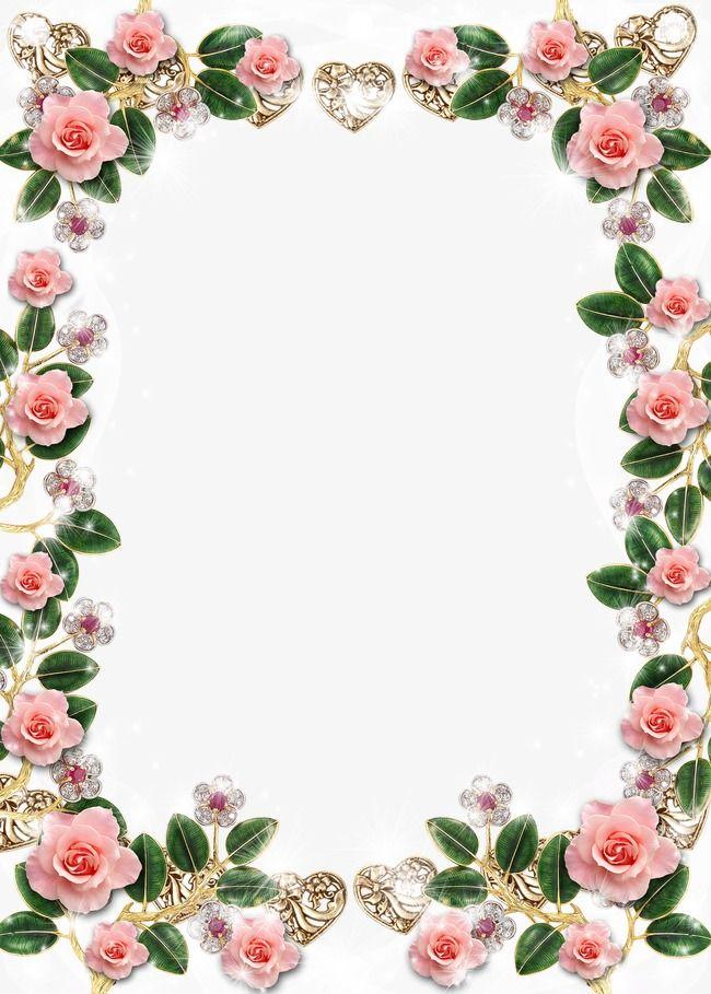 Crystal Flowers Border Frame Background
