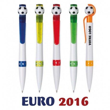 Stylo avec poussoir en forme de ballon de foot - 5 couleurs au choix - idéal pour l'euro 2016