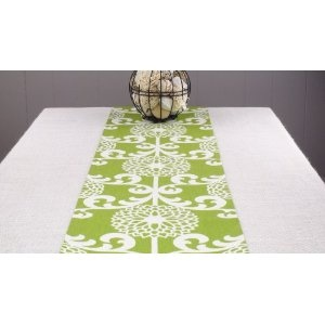 Green table runner green tablecloth green color 120 for 120 inch table