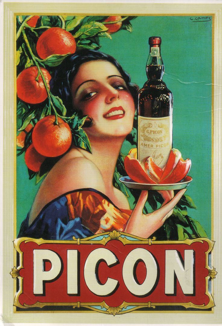 This sensual Picon temptress is Gaspar Camps' (1874-1942) creation, a Spanish graphic designer and illustator. Nicknamed 'Mucha Catalan' after his great inspiration Czech Alfons Mucha.