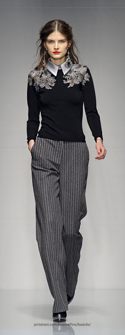 Roccobarocco , black & grey: embroidered sweater, striped pants, and beautiful collar.