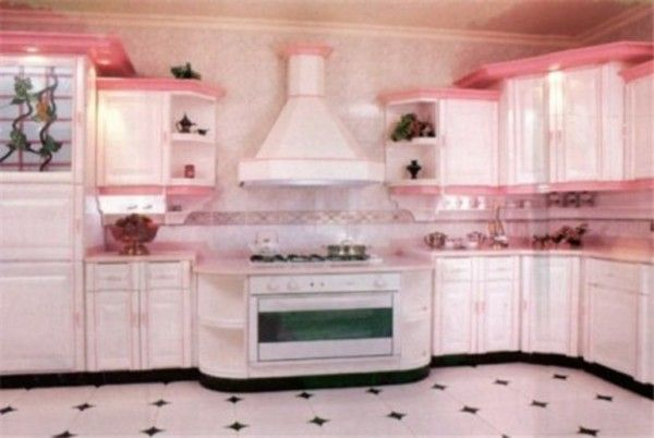 pink kitchens | ink retro-type colored kitchen cabinets. Pink is also thought to ...