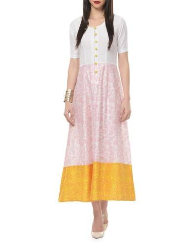 Yellow And White Printed Maxi Dress I Shop at :http://www.thesecretlabel.com/ans-by-astha-n-sidharth