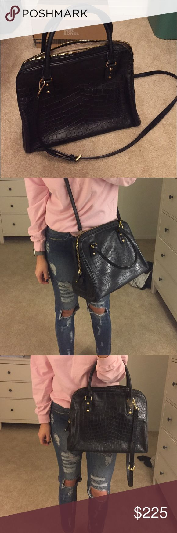Michael kors large crocodile satchel Michael kors large satchel. Barely used! Amazing black bag that can be used as a crossbody or handle bag. Michael Kors Bags Crossbody Bags