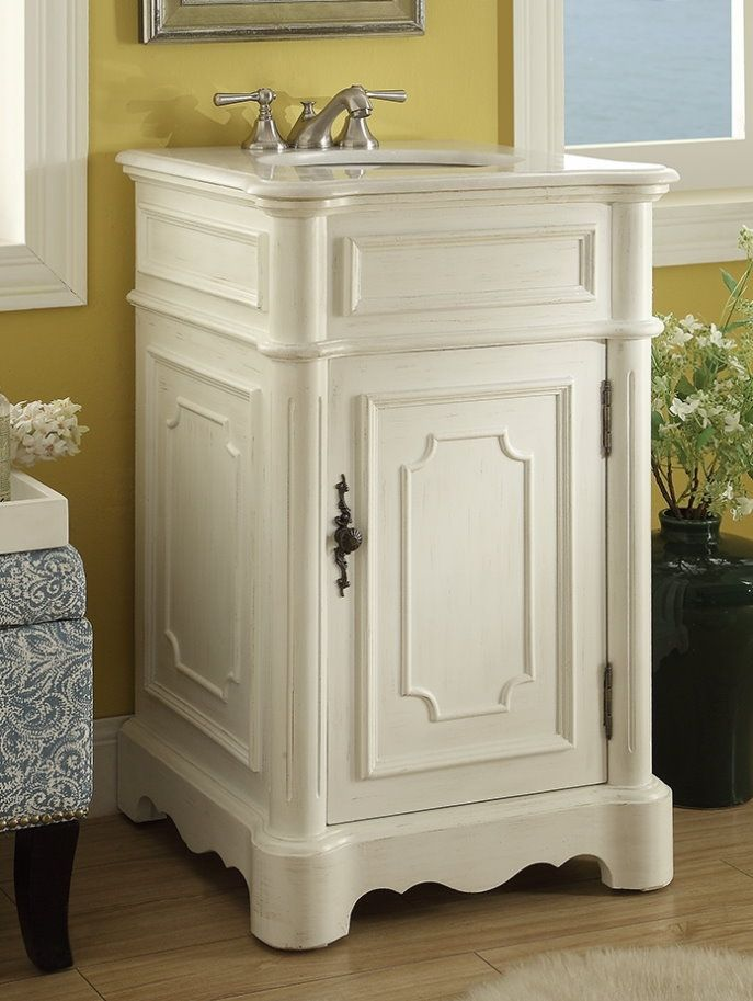 Adelina 21 Inch Petite White Finish Bathroom Vanity, Fully Assembled, White  Marble Counter Top (genuine Marble), White Under Mount Porcelain Basin