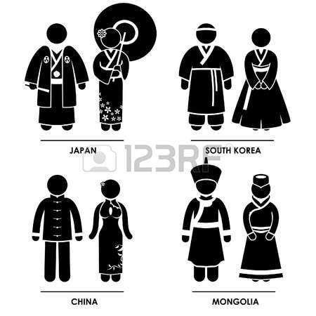 Est Asia - Giappone Corea del Sud Cina Mongolia Uomo Donna Persone Nazionale Costume Tradizionale Abito Abbigliamento Icona Pittogramma Simbolo Segno photo