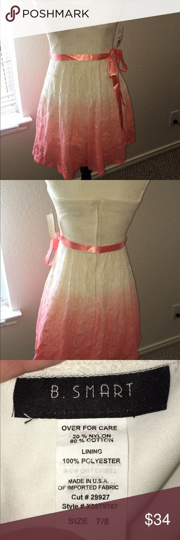 B Smart size 7/8 pink ombré NWT dress starts out with a cream color on top then flows into a pink ombré toward the bottom. Strapless. Brand new never worn. Has grip lines on the side of chest to get it a comfortable hold in place. Comes with a pink sash to make into a bow. Has bra lining pads inside for placement. Has three layers. ⭐️bundle for extra savings. B Smart Dresses Mini