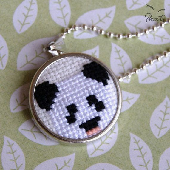 Embroidery PANDA BEAR Necklace Cross stitch by IkatiWorks on Etsy